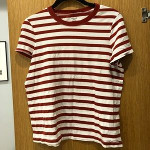 Red and white striped barely worn Madewell tee
